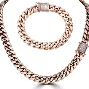 Harlembling 14k Gold Cuban Bracelet & Chain Set